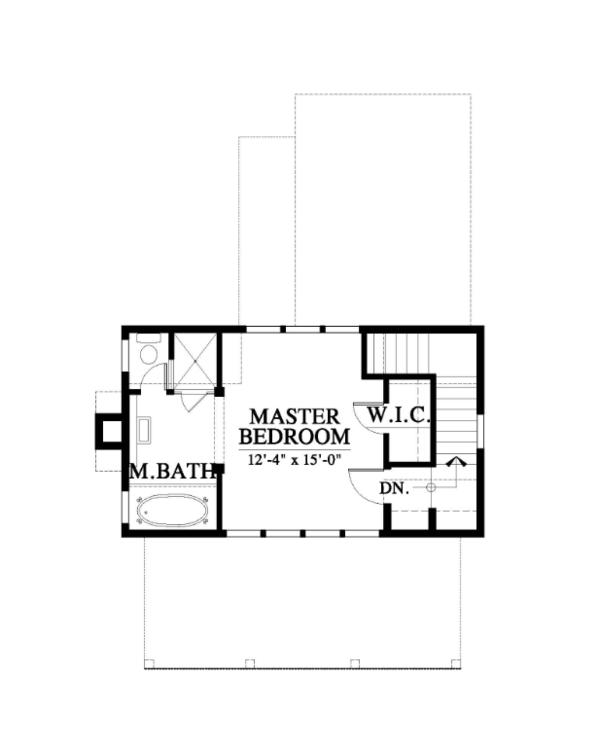 Farmhouse Style House Plan - 1 Beds 1.5 Baths 1035 Sq/Ft Plan #464-14 Floor Plan - Upper Floor Plan