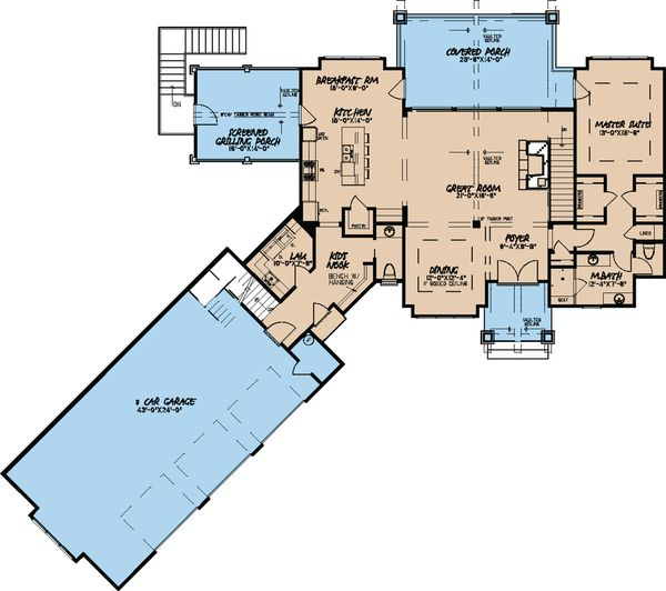 Craftsman Floor Plan - Main Floor Plan Plan #923-21