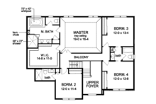Traditional Floor Plan - Upper Floor Plan Plan #1010-96
