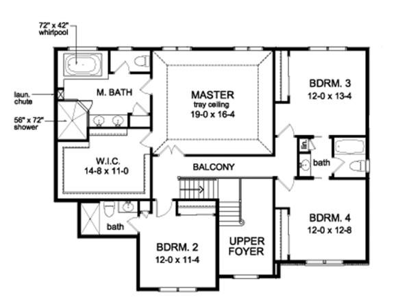 Traditional Floor Plan - Upper Floor Plan Plan #1010-96