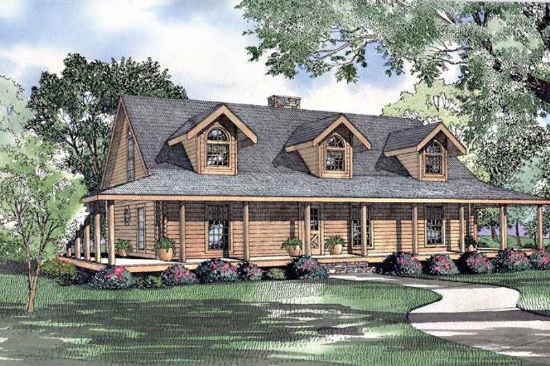 Log Exterior - Front Elevation Plan #17-3113