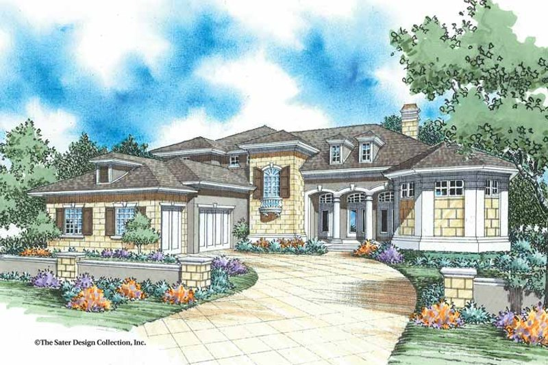 Mediterranean Style House Plan - 6 Beds 4.5 Baths 4398 Sq/Ft Plan #930-334 Exterior - Front Elevation