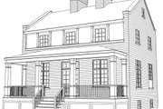 Colonial Style House Plan - 3 Beds 2.5 Baths 1440 Sq/Ft Plan #477-8 Exterior - Rear Elevation