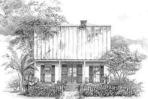 Southern Exterior - Front Elevation Plan #301-111