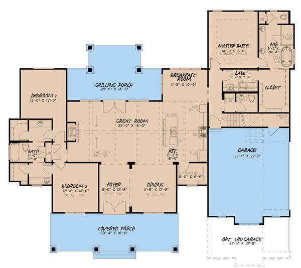 Craftsman Floor Plan - Main Floor Plan Plan #923-133