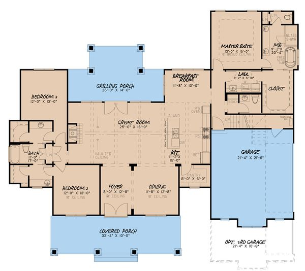 Dream House Plan - Craftsman Floor Plan - Main Floor Plan #923-133