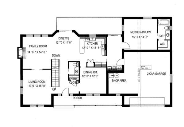 Country Floor Plan - Main Floor Plan Plan #117-835