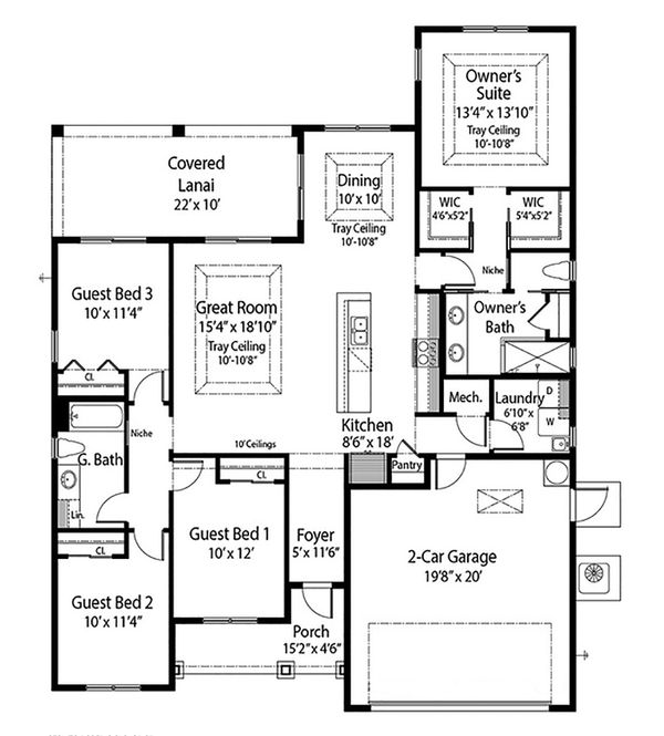 Farmhouse Floor Plan - Main Floor Plan Plan #938-106