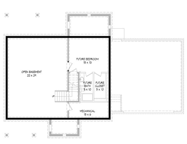 Southern Floor Plan - Lower Floor Plan #932-97