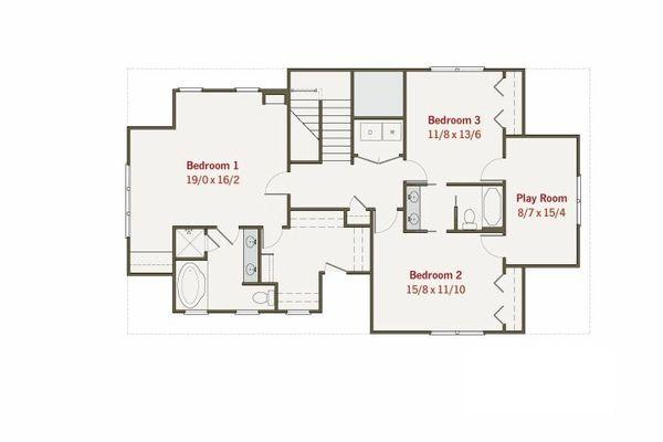 Craftsman Style House Plan - 4 Beds 3 Baths 2960 Sq/Ft Plan #461-11 Floor Plan - Upper Floor Plan
