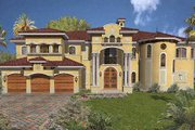 Mediterranean Style House Plan - 6 Beds 7.5 Baths 7100 Sq/Ft Plan #420-196 Exterior - Front Elevation