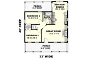 Traditional Style House Plan - 2 Beds 1 Baths 890 Sq/Ft Plan #44-223