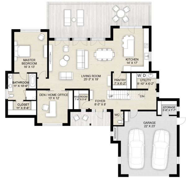 Contemporary Floor Plan - Main Floor Plan Plan #924-13