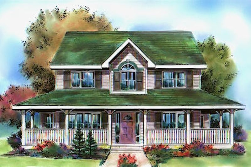 House Blueprint - Farmhouse Exterior - Front Elevation Plan #18-290