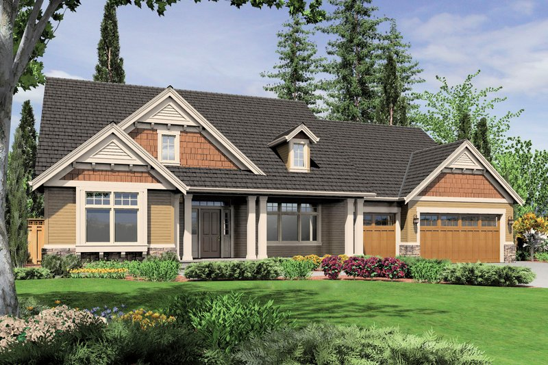 Craftsman Exterior - Front Elevation Plan #48-555