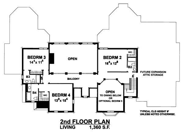 European Floor Plan - Upper Floor Plan Plan #20-2318