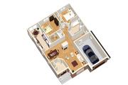 European Style House Plan - 2 Beds 1 Baths 1198 Sq/Ft Plan #25-4653 Floor Plan - Main Floor Plan