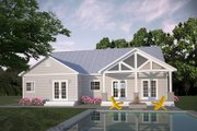 Ranch Style House Plan - 3 Beds 2 Baths 1403 Sq/Ft Plan #18-9547 Exterior - Rear Elevation
