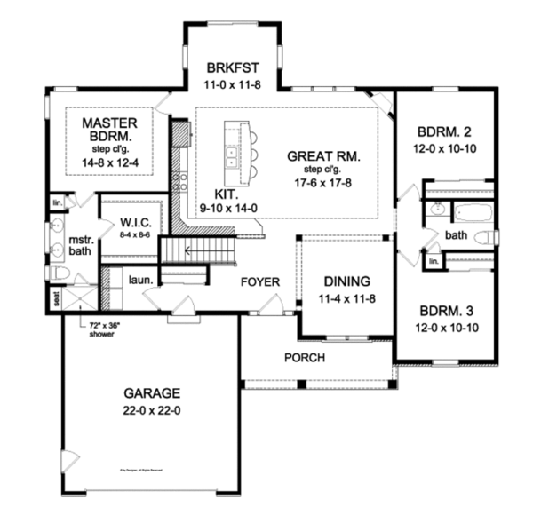 Ranch Floor Plan - Main Floor Plan Plan #1010-72