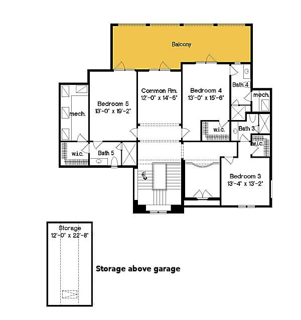 Mediterranean Floor Plan - Upper Floor Plan Plan #135-199