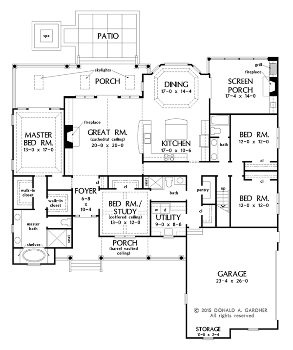 Ranch Floor Plan - Main Floor Plan Plan #929-1004
