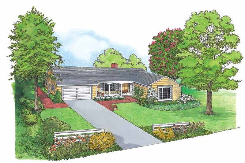 Ranch Exterior - Front Elevation Plan #1040-26