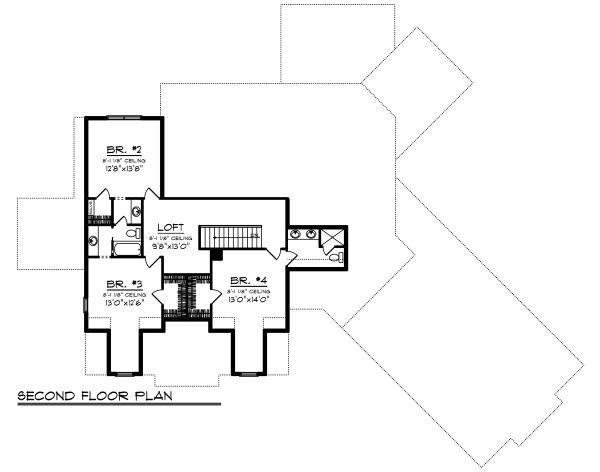 Craftsman Floor Plan - Upper Floor Plan Plan #70-1487
