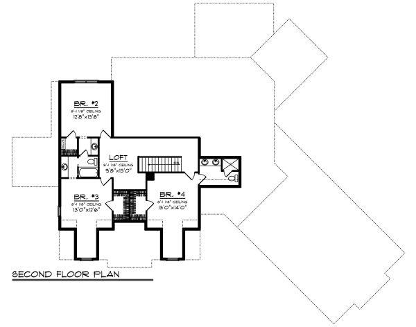 Craftsman Floor Plan - Upper Floor Plan Plan #70-1487