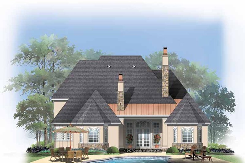 European Exterior - Rear Elevation Plan #929-834 - Houseplans.com