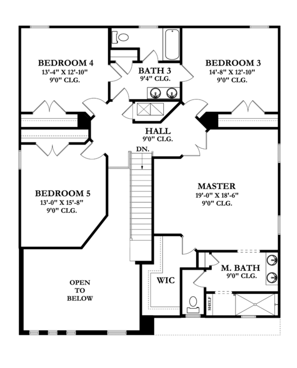 Mediterranean Floor Plan - Upper Floor Plan Plan #1058-65