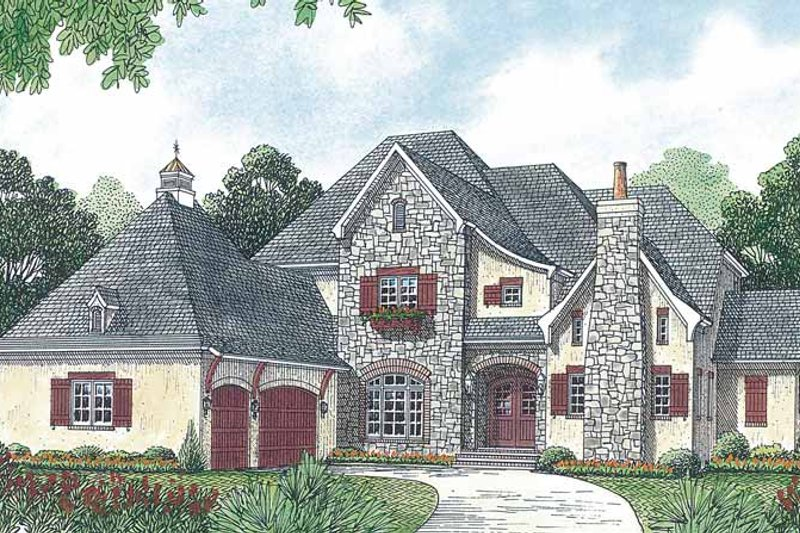 Country Exterior - Front Elevation Plan #453-457