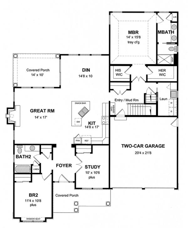 House Plan Design - Craftsman Floor Plan - Main Floor Plan #316-274