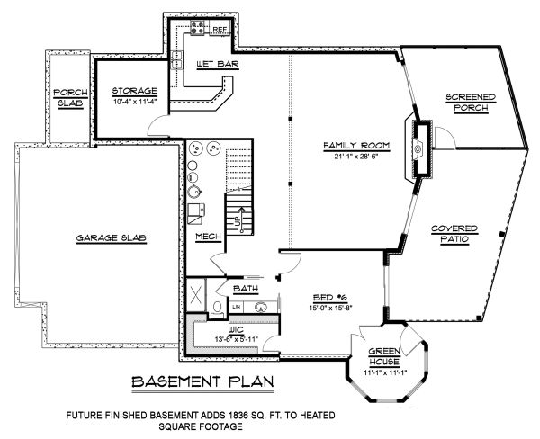 Craftsman Floor Plan - Lower Floor Plan Plan #1064-11