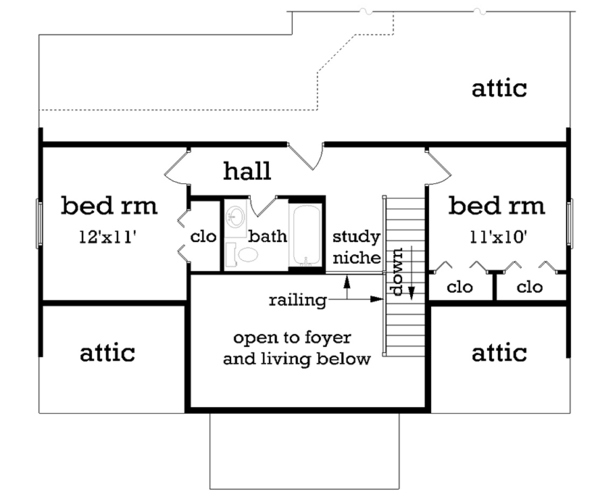 Traditional Floor Plan - Upper Floor Plan Plan #45-490