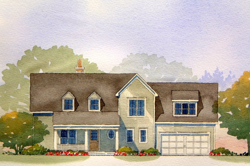 Traditional Style House Plan - 3 Beds 2.5 Baths 1984 Sq/Ft Plan #901-66 Exterior - Front Elevation