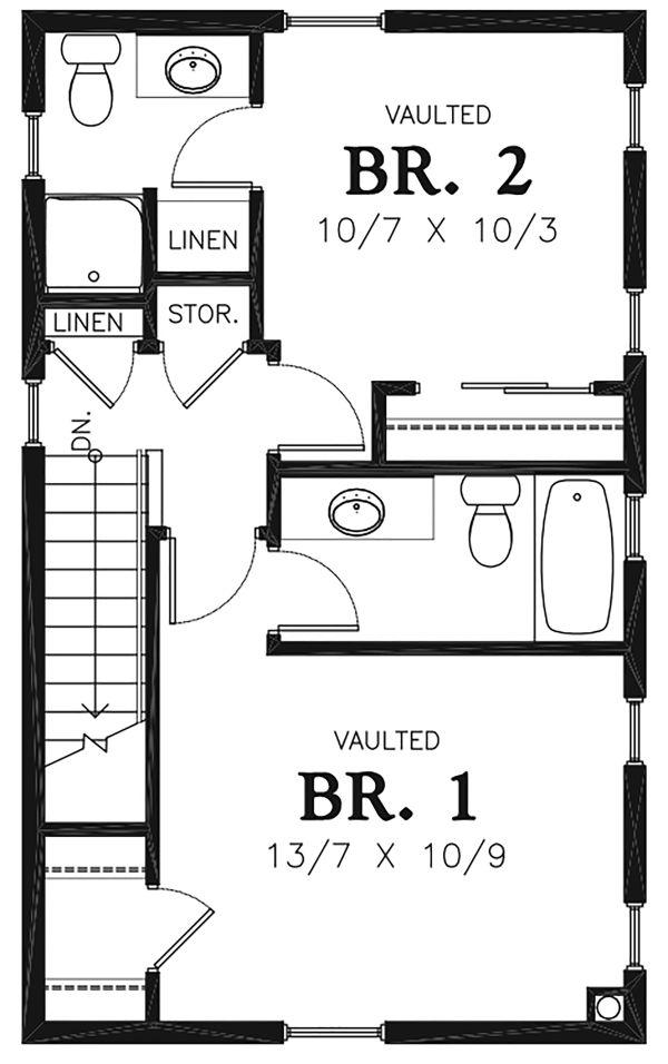 Colonial Floor Plan - Upper Floor Plan Plan #48-975