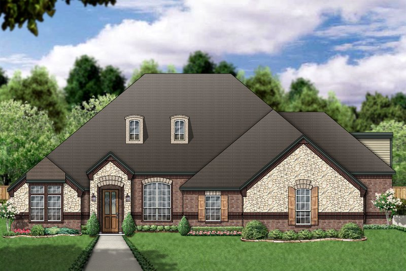 Architectural House Design - European Exterior - Front Elevation Plan #84-393