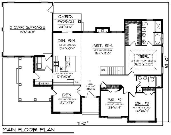 Craftsman Floor Plan - Main Floor Plan #70-1493