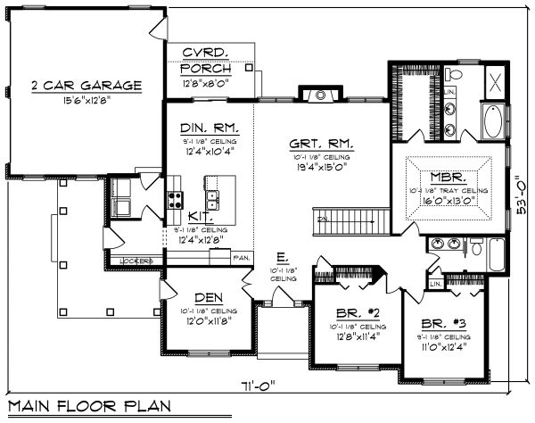 Craftsman Floor Plan - Main Floor Plan Plan #70-1493