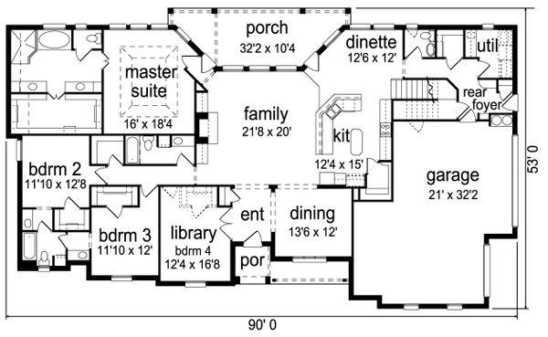 European Floor Plan - Main Floor Plan Plan #84-618