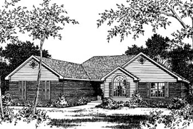 Traditional Style House Plan - 3 Beds 2 Baths 1618 Sq/Ft Plan #15-111 Exterior - Front Elevation