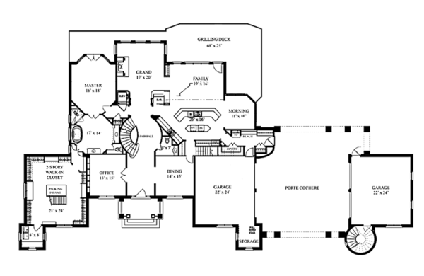 Mediterranean Floor Plan - Main Floor Plan Plan #119-414