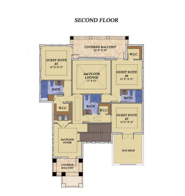 Mediterranean Floor Plan - Upper Floor Plan Plan #548-16