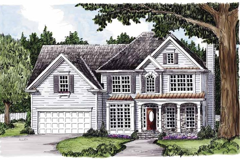 Colonial Exterior - Front Elevation Plan #927-355