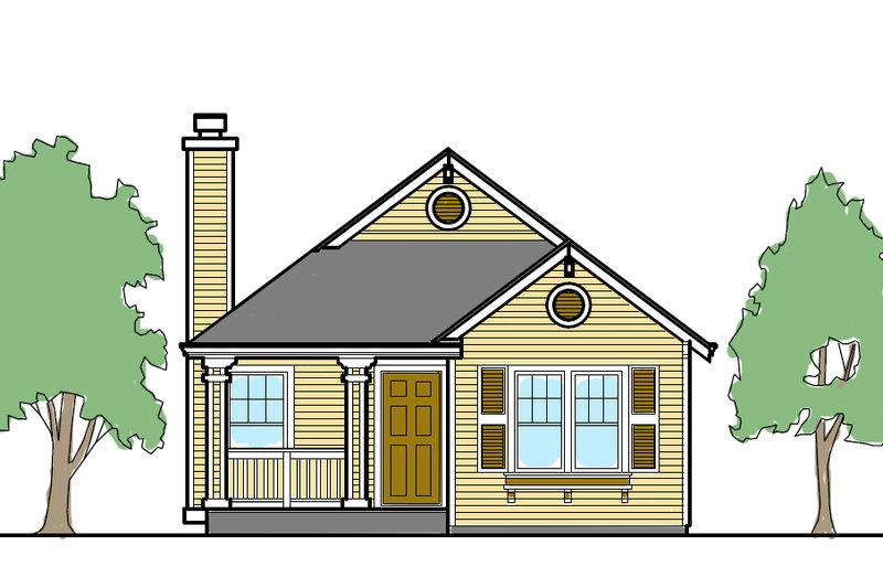 Cottage Style House Plan - 2 Beds 2 Baths 838 Sq/Ft Plan #515-18 Exterior - Front Elevation