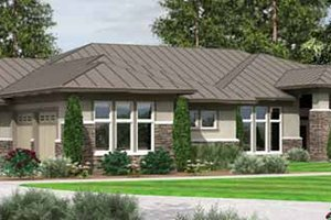 Architectural House Design - Prairie Exterior - Front Elevation Plan #966-28