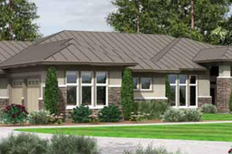 Architectural House Design - Prairie Exterior - Front Elevation Plan #966-28
