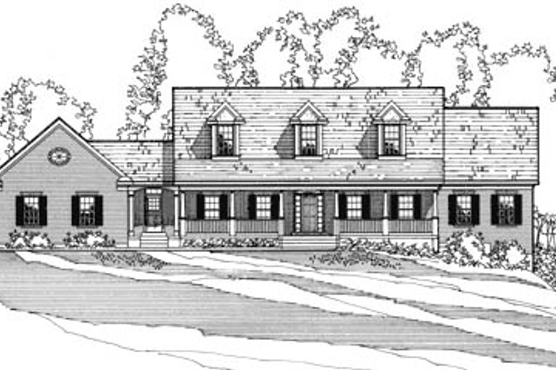Country Style House Plan - 4 Beds 3 Baths 2994 Sq/Ft Plan #31-108 Exterior - Front Elevation