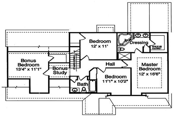 Craftsman Floor Plan - Upper Floor Plan Plan #46-290