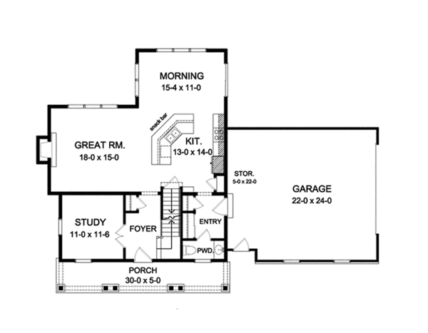 Colonial Floor Plan - Main Floor Plan Plan #1010-122